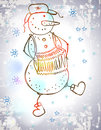 Funny snowman with accordion dancing christmas holiday illustration Stock Image