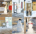 Funny snowman collage. Royalty Free Stock Photo