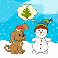 Funny snowman and cute puppy dream about the Christmas tree