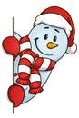 Funny snowman hiding behind the blank. Vector illustration. Christmas Theme.