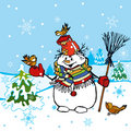 Funny Snowman Scene Royalty Free Stock Photo