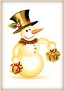 Funny Snowman with two gift boxes Royalty Free Stock Photo