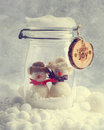 Funny snowmen in glass jar with christmas ribbons Stock Photos