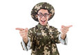 Funny soldier isolated on the white Stock Image