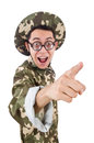 Funny soldier isolated on the white Royalty Free Stock Images