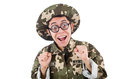 Funny soldier isolated on the white Stock Photography