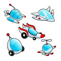 Funny spaceships cartoon and vector isolated objects Royalty Free Stock Image