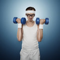 Funny sport nerd Royalty Free Stock Photo