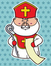 Funny st nicholas vector illustration of which is holding list Stock Photos
