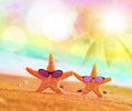 Funny starfish with sunglass on the sandy beach at ocean background Stock Photos