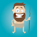 Funny stone age man illustration of a Stock Images