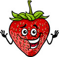 Funny strawberry fruit cartoon illustration of food comic character Royalty Free Stock Photos