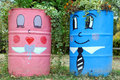 Funny street planters two in the park in bulgaria Royalty Free Stock Photography
