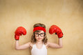 Funny strong child girl power and feminism concept Royalty Free Stock Photo