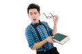 Funny student with books