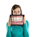 Funny studio portraits tablet isolated background Royalty Free Stock Photos
