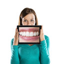 Funny studio portraits tablet isolated background Royalty Free Stock Image