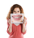 Funny studio portraits tablet isolated background Stock Photo