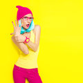Funny stylish girl portrait of Stock Photography