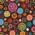 Funny stylized hand drawn fantasy flowers seamless pattern endless background perfect summer design Stock Images