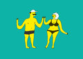 Funny stylized man and woman in swimsuit. Summer retro poster with cartoon couple. Vector illustration. Royalty Free Stock Photo