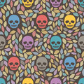 Funny sugar skulls seamless background hand drawn vector illustration pattern can be used for wallpaper pattern fills web Royalty Free Stock Photos