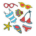Funny summer doodle set. Royalty Free Stock Photo