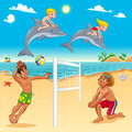 Funny summer scene with dolphins and beachvolley cartoon vector illustration Royalty Free Stock Image