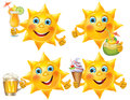 Funny sun with cool drinks and desserts contains transparent objects eps Stock Images