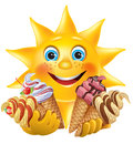 Funny sun with delicious ice creams contains transparent objects eps Stock Photo