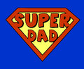 Funny super dad shield comic style Royalty Free Stock Image