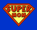Funny super mom shield comic style Stock Photography