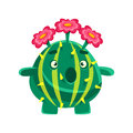 Funny surprised succulent with pink flowers. Cartoon emotions character vector Illustration