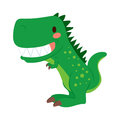 Funny t rex dinosaur green cartoon toy showing teeth Stock Photography
