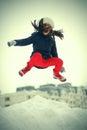 Funny teenage girl jumping