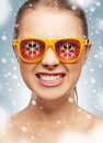 Funny teenage girl in shades bright closeup portrait picture of Stock Images