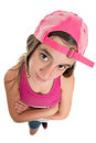 Funny teenage girl wearing a baseball cap Royalty Free Stock Photo