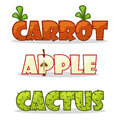 Funny textural word. Carrots, apple and cactus
