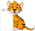 Funny tiger cartoon posing with blank sign illustration of Royalty Free Stock Photography
