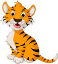 Funny tiger cartoon posing illustration of Royalty Free Stock Photo