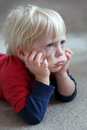 Funny Toddler Child Looking Grumpy or Pouting Royalty Free Stock Photo