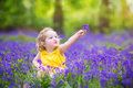 Funny toddler girl in bluebell flowers in spring forest adorable with curly hair wearing a yellow dress playing with purple a Royalty Free Stock Images