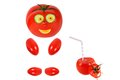 Funny tomato smiles and keeps tomato juice Stock Image