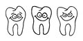Funny tooth with comic face illustration Stock Photo