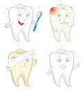 Funny tooth with toothbrush caries toothache vector illustration isolated on white background Royalty Free Stock Photo
