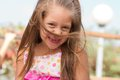 Funny toothless little girl outdoors Stock Photography