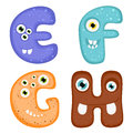 Funny toothy monster alphabet from e to h Royalty Free Stock Photography
