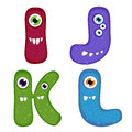 Funny toothy monster alphabet from i to l Stock Photos