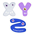 Funny toothy monster alphabet from x to z Stock Photography