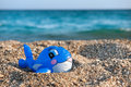 Funny toy fish at the beach Royalty Free Stock Photo